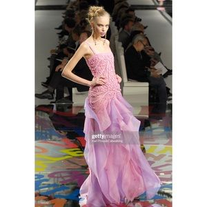VALENTINO RUNWAY PINK PURPLE EMBELLISHED LONG GOWN